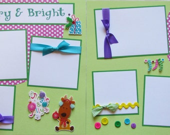 12x12 Christmas Premade Scrapbook Pages Layout -- MERRY and BRIGHT -- jingle and jolly, Christmas Eve, boy or girl, family scrapbook album