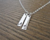 Silver initial necklace, personailzed necklace, sterling silver bar charms, bar necklace, custom silver necklace, hammered custom initial
