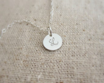 Personalized necklace, custom initial, sterling silver monogram charm, small silver initial necklace, monogram necklace, tiny initial charm