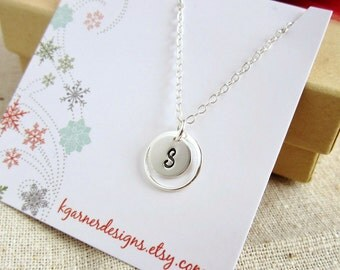 Gift for her Personalized necklace Eternity ring necklace gift Silver initial necklace Sterling Silver necklace Dainty monogram necklace