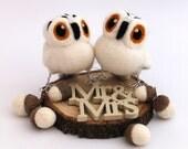 Mini Owl Wedding Cake Topper Snowy Owl Pair in Natural White Felt Birds