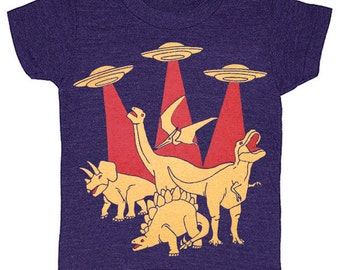 KIDS Dino vs Aliens T-shirt - Boy Girl Children Toddler Youth Shirt Geek Dinosaur Monster Space Spaceship UFO Funny Science Fiction Tshirt