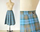 Vintage Plaid Skirt --- 1950s Blue Pleated Skirt