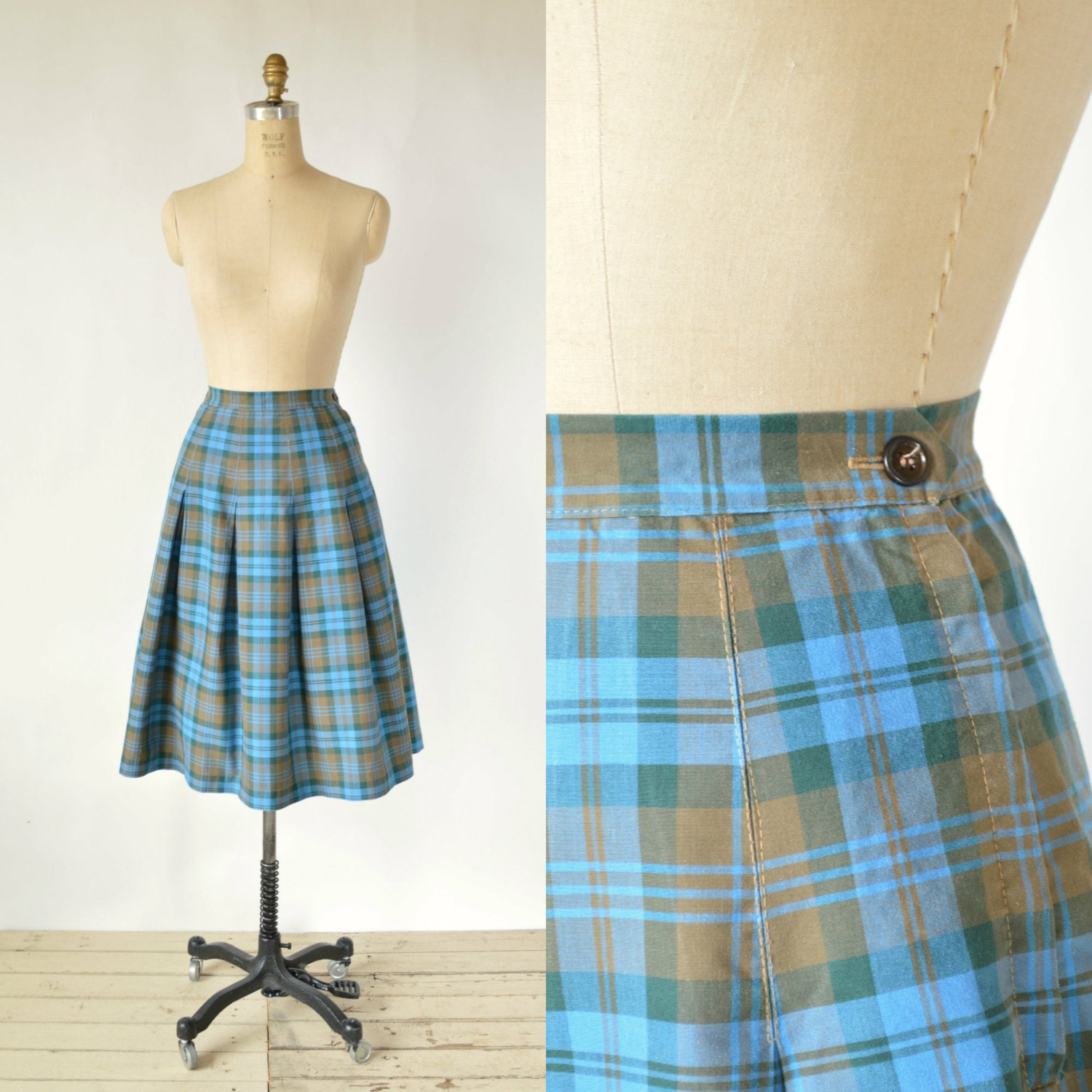 vintage plaid skirt 1950s blue pleated skirt