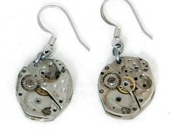 Steampunk Post-Apocalyptic Clockwork Earrings with Two Authentic Vintage Watch Movements by Velvet Mechanism