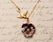 Sweet Pansy Flower Necklace  Gold Sparrow Bird Necklace