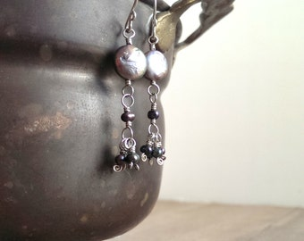 Sterling silver and fresh water pearl earrings -sterling silver earrings with purple pearls