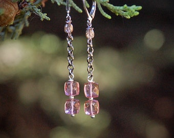 PInk Rain - Pink Quartz Earrings, Faceted Cubes, Soft Pink Sparkle, gift for her, Valentines Day
