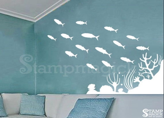 under the sea wall decal under water world underwater ocean. Black Bedroom Furniture Sets. Home Design Ideas