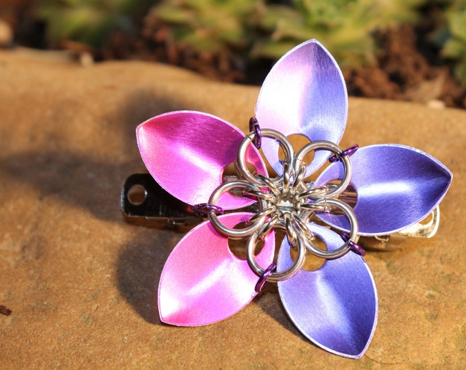 Small Faerie Flower - Purple and Pink - Hair Clip