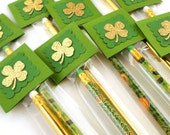 St. Patrick's Day Pencils - Personalized Shamrock Pencil Favors - St Patricks Day School Treats - Classroom Favors