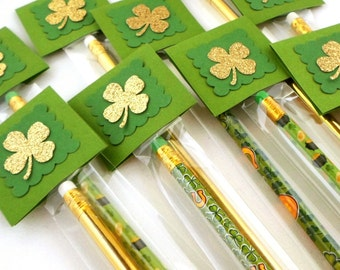 St. Patrick's Day Pencils, Personalized Shamrock Pencil Favors, St Patricks Day School Treats, Classroom Party Favors, Irish Favors
