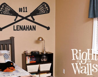 "Lacrosse 30"" Custom Personalized Sports Name Vinyl Wall Art and Wall Decals Sports Removable Boys Bedroom Wall Decor"