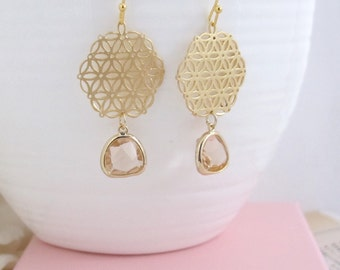 Champagne Glass TearDrops Earrings. Matte Gold Plated Lace Hexagon Filigree Earrings. Bridal Wedding Bridesmaid Jewelry