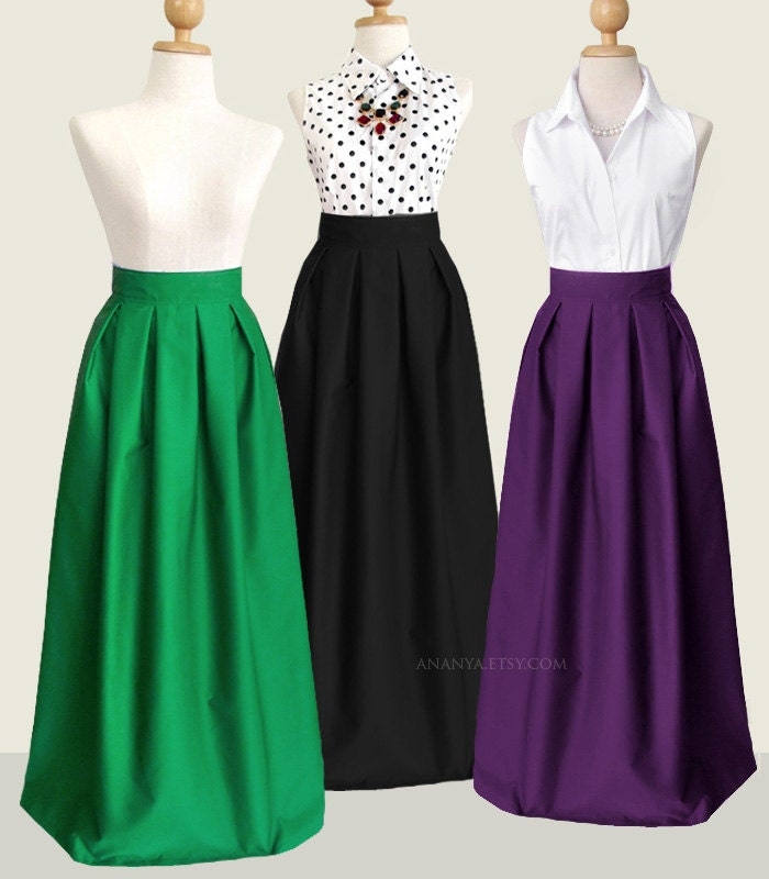 Cotton Pleated Long Skirt With Pockets Custom Size Length