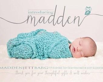 BIRTH ANNOUNCEMENT - boy - girl - Photo Baby Announcement  - Thank you -  Introducing - Owl - Newborn - Modern - Printable - Digital - Bump
