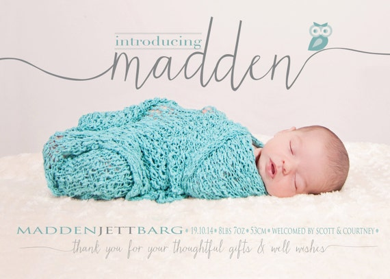 BIRTH ANNOUNCEMENT boy girl Photo Baby Announcement – Etsy Baby Announcements