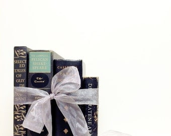 Black books, Wedding vintage, Gift for Book Lover, Stackable Books, Books for decor, Centerpiece, Shakespeare, Book Display, Maupassant