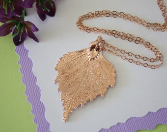 Rose Gold Birch Leaf Necklace, Real Leaf Necklace, Birch Leaf, Birch Leaf, LC36