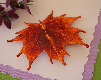 Maple Leaf Brooch Copper, Sugar Maple Leaf Pin, Real Leaf, Copper Leaf, BROOCH52