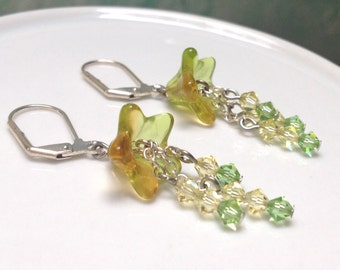 Yellow and Green Swarovski Crystal and Flower Dangle Earrings