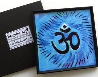 Om Symbol Yoga Meditation Inspirational Quote Motivational Print Hindu Sanskrit Spiritual Harmony Friend Heartful Art by Raphaella Vaisseau