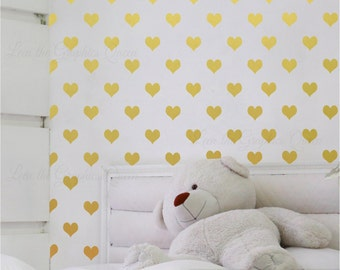 Gold Heart Shaped Wall Decals - Set of 200 Vinyl decals 45 Color Options including Gold Metallic for Nursery or Kid Room Baby Nursery Decor