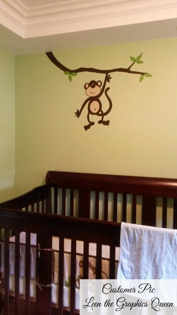 Monkey Business on Branch Vinyl Wall Decal - Monkey Theme Sticker totally Customizable - See Description for Details!