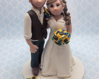 Country Bride and Groom Wedding Cake Topper