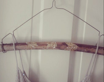 Rustic Wedding Hanger Gold Glitter Chevron Pattern on Natural Tree Branch Wood and Wire Limited Edition