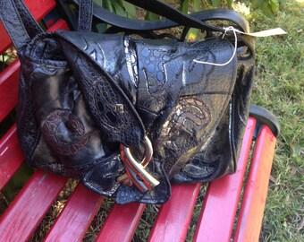 Vintage Black and Gold Synthetic Frog Skin Shoulder Bag by Aliento