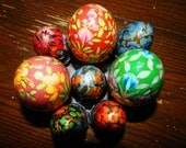Vintage Hand painted Easter Eggs, Wooden Eggs, Russian Style, Wooden Stands