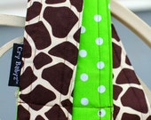 Reversible Camera Strap Giraffe Designer Fabric with Lime Dots Nikon Camera Strap Canon Camera Straps Photography Prop