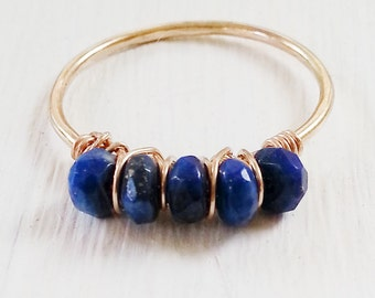 gemstone Ring, 14kt Gold Filled, Lapis Lazuli, stacking thin skinny stacker bridesmaid bridal party
