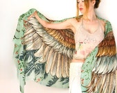 Wings Scarf, Festival Clothing, Bohemian Clothing, Spring Boho Scarf, Digital Print Scarf, Fashion Scarves, Bird Feather Scarf, Sarong Scarf