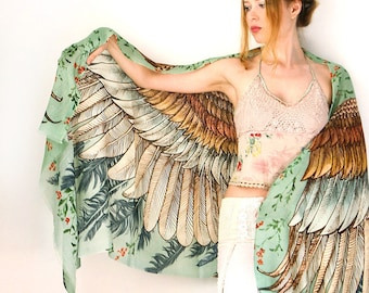 Wings scarf, bohemian bird feathers shawl, vintage green, hand painted, digital print, sarong, perfect Valentine gifts