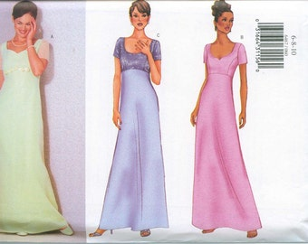 Butterick 6467 Sewing Pattern Sizes 6-8-10 Evening Dress Gown Mother In Law Bridal Bridesmaid Wedding