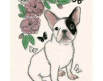 French Bulldog art print - French Bulldog Print - French Bulldog Artwork - Dog Wall Art - Dog Decor - Matthieu - Luc - 4 for 3 SALE