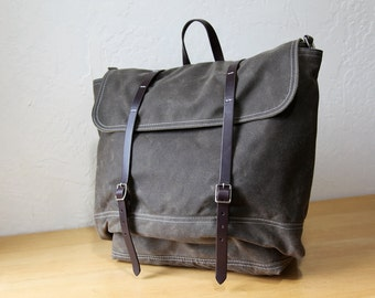 Waxed Canvas Backpack // Rucksack // Leather Straps