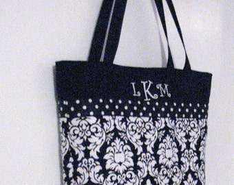 Personalized Diaper Bag . Regular size  .  Damask Black White personalized Tote bag . teacher's tote . bridesmaid gifts . Monogrammed FREE