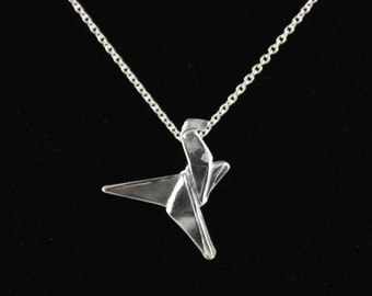 """Handmade Silver Origami Dinosaur Pendant, Origami Jewelry, Dinosaur Necklace, Bijoux Origami Necklace on 18"""" Sterling Silver Cable Chain"""