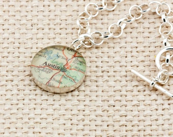 Sterling silver toggle bracelet with vintage map of Austin