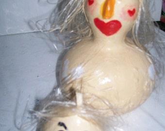 Blond Buff Chicks- Handpainted Gourd Decorations