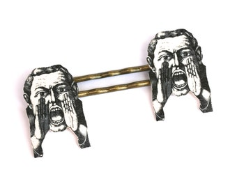 Can You Hear Me Now Bobby Pins - Yelling Man - Man Bobby Pins - Shrink Plastic - Vintage Illustration - Mamas Little Babies - Speak No Evil