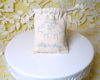 Love birds mr and mrs bag muslin wedding favor handstamped