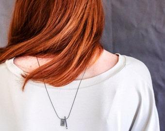 Double Pendant Necklace, Black Pendant Necklace, Long Silver Pendant Necklace, Oxidized Sterling Silver & CZ, Simple Bar Necklace
