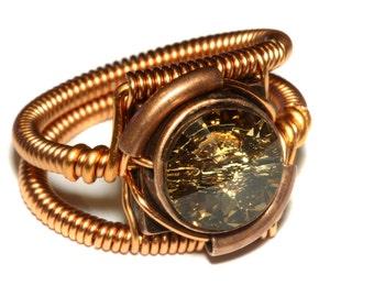 Steampunk Jewelry - Ring - Copper with Topaz Swarovski Crystal -  November
