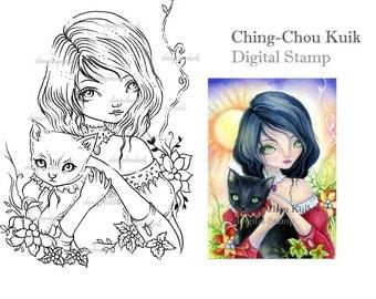 Christmas Cuddle - Digital Stamp Instant Download / Animal Cat Kitten Kitty Christmas Fantasy Fairy Art by Ching-Chou Kuik