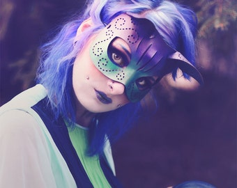 Tatted Kitty mask in purple, teal and gold