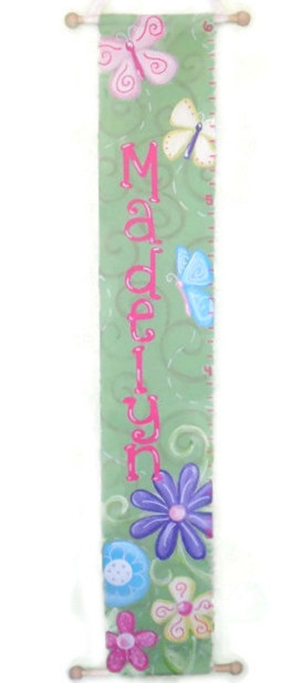Pretty Poppies Flower Canvas Growth Chart Made to Order